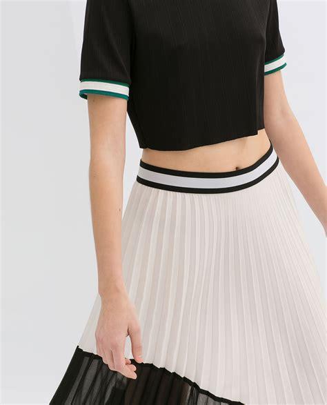 zara asymmetric twotone pleated skirt in black lyst