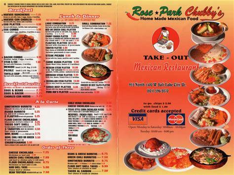 restaurant menu chubby s mexican restaurant menu