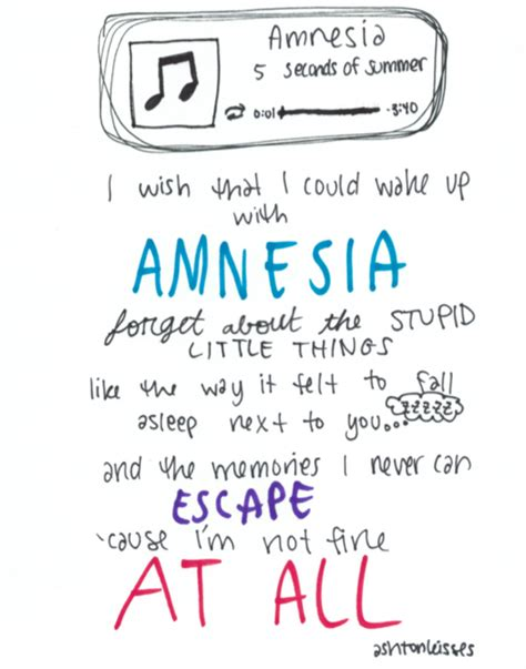 5 seconds of summer amnesia lyrics 5sos amnesia lyrics products i love pinterest