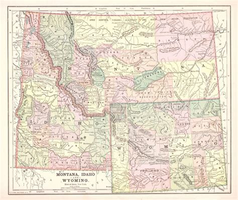 idaho montana map map antique montana idaho and wyoming 1892 from the