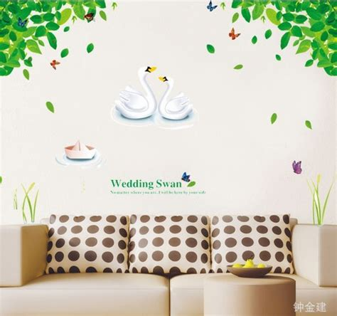 cute diy bathroom wall decor ay880 cute wedding swan tree home decor wall stickers
