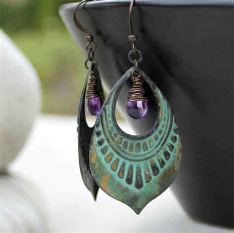 Amethyst Patina Chandelier Earrings Bohemian By Lunarbelle Chandelier Earrings Etsy