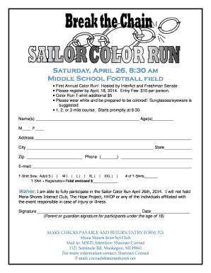 color run registration color run form fill printable fillable blank
