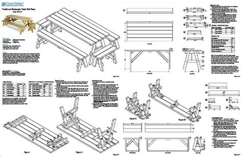 classic rectangle picnic table  benches woodworking