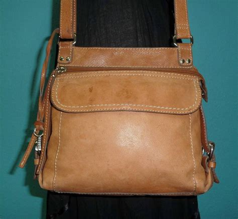 rugged leather purse vtg fossil brown rugged leather sutter crossbody messenger satchel purse bag ebay