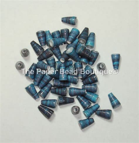 Paper Bead Supplies - paper handmade supplies cone blue ink from