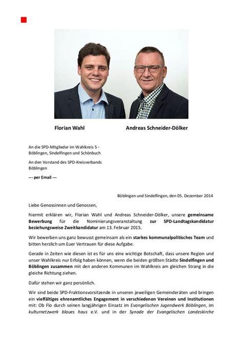 Bewerbungsschreiben Botschaft Bewerbungsschreiben Florian Wahl Und Andreas Schneider D 246 Lker F 252 R Die Landtagswahl 2016 Im