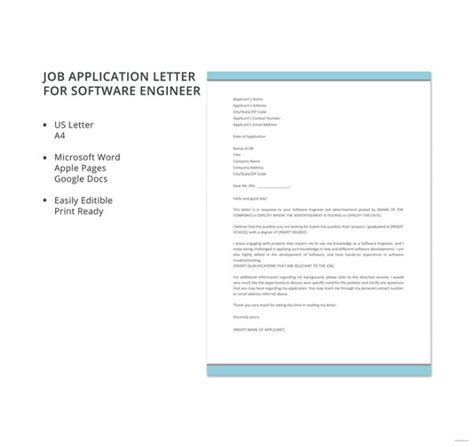 application letter for of software engineer 9 application letters for engineer free sle