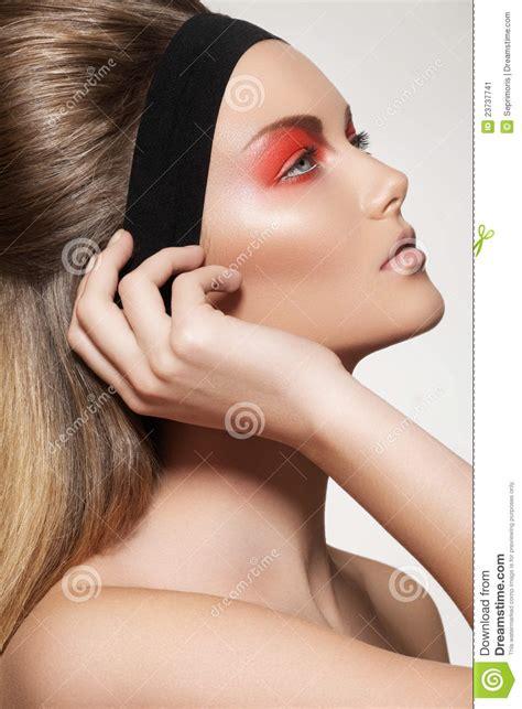 Make Up Caring skin care make up hair model with make up stock