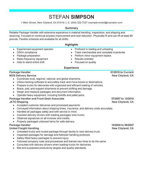 best package handler resume exle livecareer