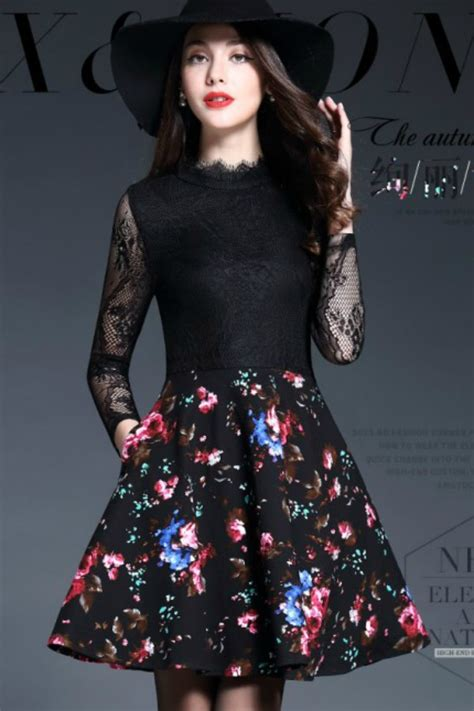 Kalung Fashion Korean Style Flower Bunga dress cantik korea dress lace import korea style baju