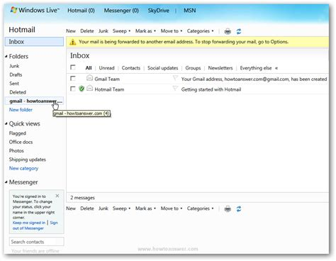 send  receive emails   accounts  hotmail windows