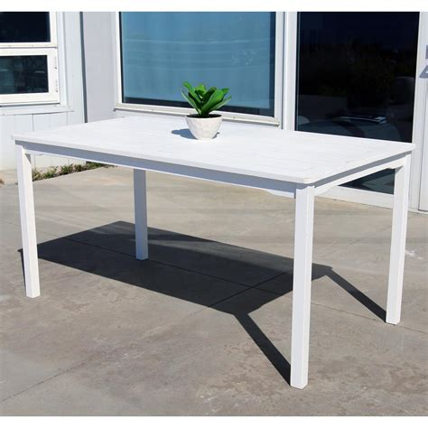 White Patio Dining Table Vifah Bradley 59 In X 32 In White Acacia Patio Dining