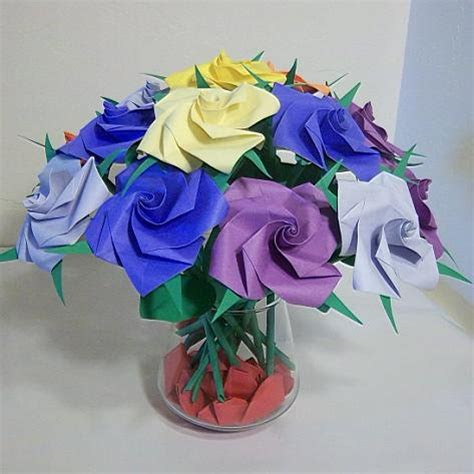 Origami For Birthday Gift - 16 origami paper folded flower craft handmade
