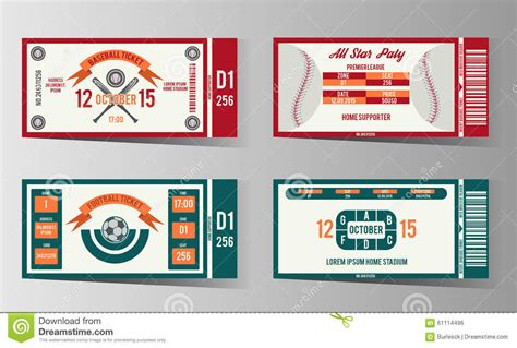 Credit Ticket Template football soccer and baseball ticket vector design stock vector image 61114496