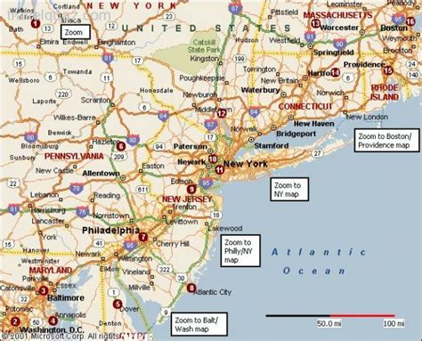 road map eastern usa road map of east coast usa my