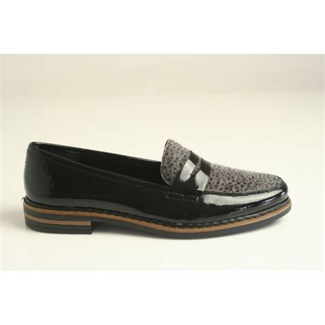 black patterned shoes rieker rieker black patent loafer with a textured