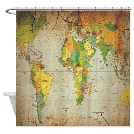 Shower Curtain Map by Vintage World Map Shower Curtain By Showercurtainboutique