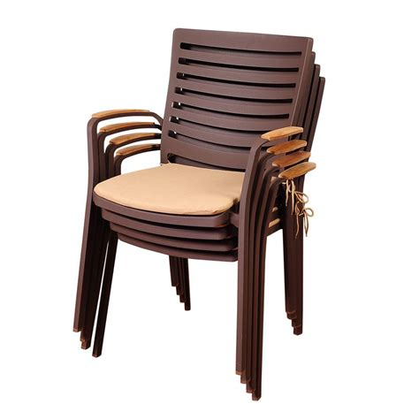 stackable outdoor dining chairs shop international home amazonia teak 4 count teak stackable patio dining chair with cushion s