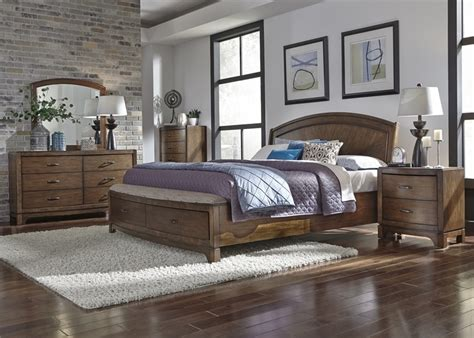 avalon bedroom set avalon panel storage bed 6 piece bedroom set in pebble
