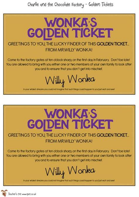 willy wonka ticket template golden ticket teachers pet and classroom displays on
