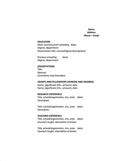 Cv Template Pdf sle cv 26 documents in pdf word