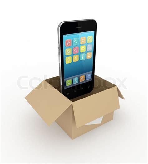 Phone Lookup Text Log Modern Mobile Phone In A Box Stock Photo Colourbox