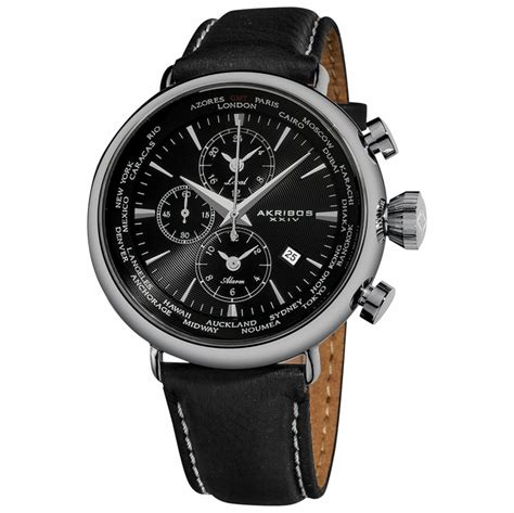 akribos chronograph black black leather s