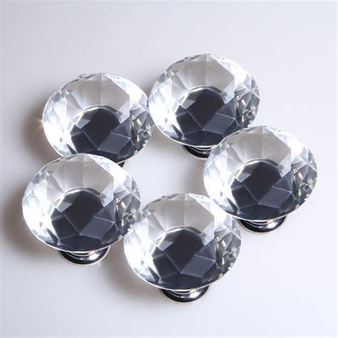 Clear Drawer Knobs by 5x 40mm Clear Glass Door Knobs Handles