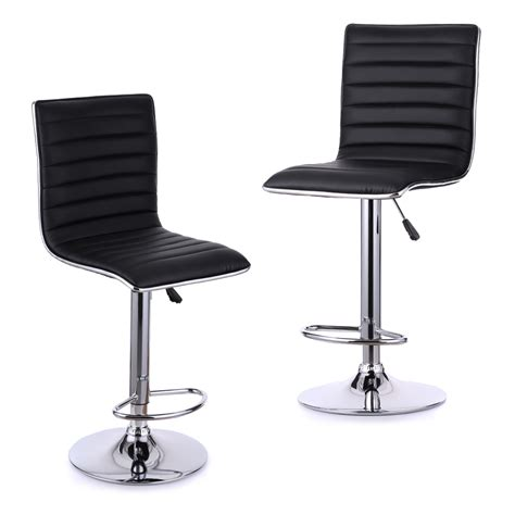 swivel bar stool chairs set of 2 pu leather pneumatic swivel bar stools chairs