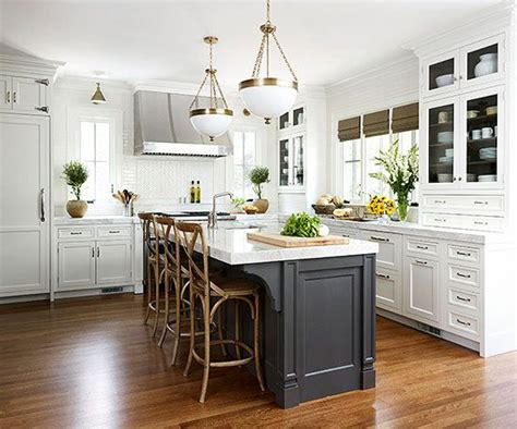 white kitchen black island contrasting kitchen islands