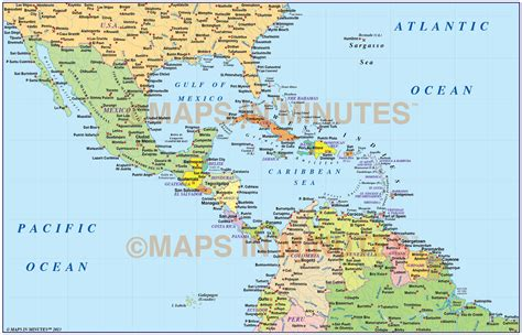 central america and the caribbean political map central america caribbean basic political map 10m scale