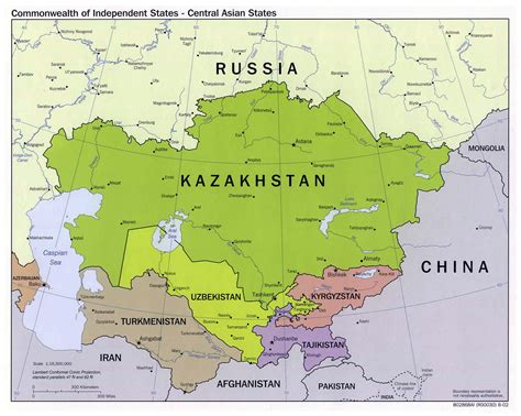 big map of asia large political map of central asian states 2002