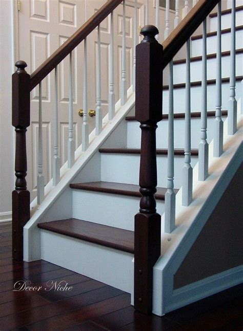 how to refinish a wood banister stained banister white spindles stifft station