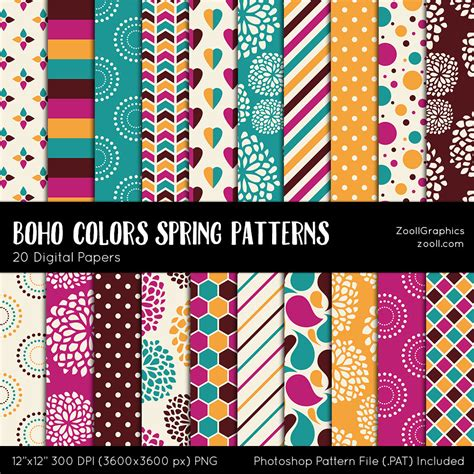 pattern photoshop file boho colors spring patterns 20 digital papers 12 x12