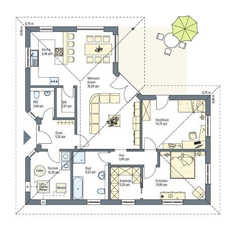 wohnfläche grundriss bungalow 128 qm wohnfl 195 194 164 che plus 6 qm lichthof