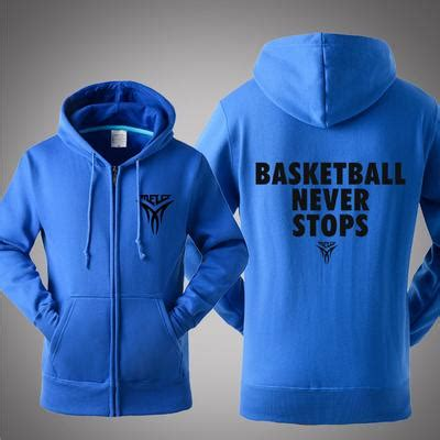 Hoodie Basketball Never Stops Geminicloth wholesale basketball never stops anthony logo fall winter personality cotton zipper