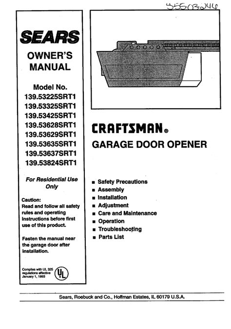 Craftsman Garage Door Opener 139 539 Craftsman Garage Door Opener Model 139 536 Manual Fluidelectric