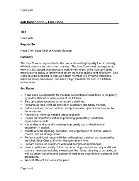 chef description uk cooking description resume templates description sle cook