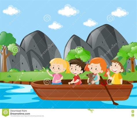free clipart river boat four kids rowing boat along the river stock vector image