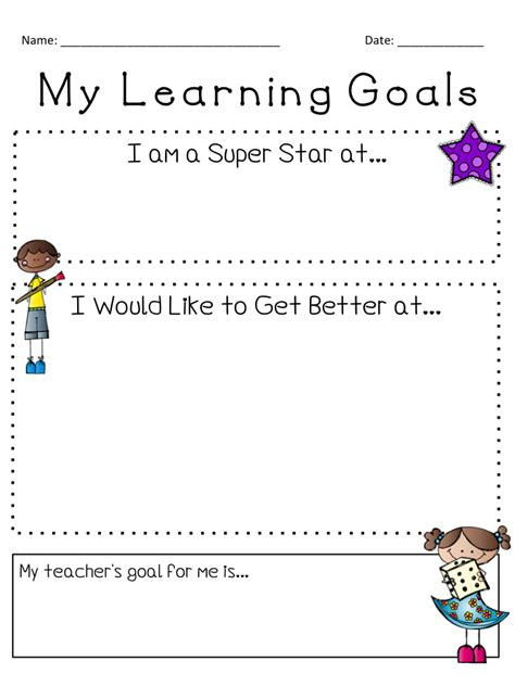 free student goal card template this is a simple goal setting form that can be used for