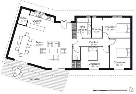 plan de maison 5 chambres plan maison en v avec 3 chambres ooreka