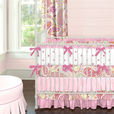 Elephant Bedding For Cribs Pink Paisley Crib Bedding Carousel Designs Sassy And Chic Our Pink Paisley Crib
