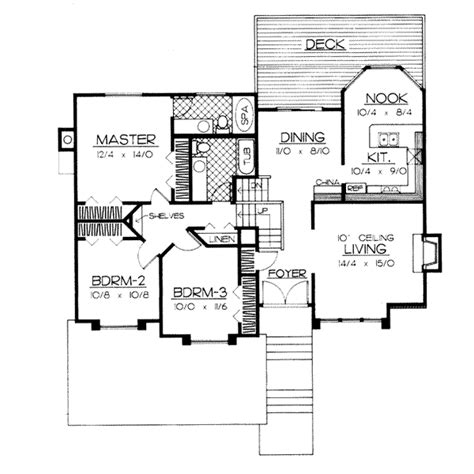 multi level home plans traditional style house plans 1852 square foot home multi level story 3 bedroom and 2 bath