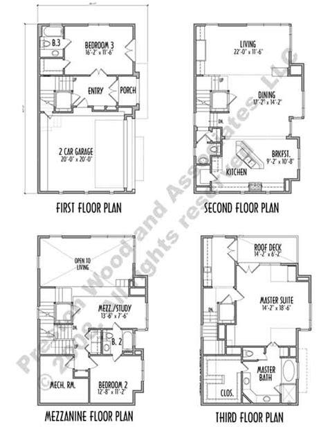 4 story townhouse floor plans townhouse plan d0163 c1