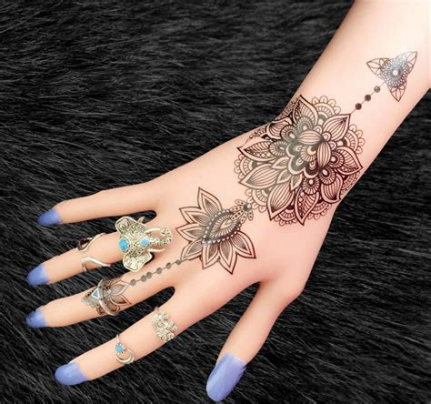 black tribal lotus temporary tattoo boho tattoo mybodiart
