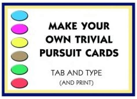 make your cards make your own trivial pursuit cards hubpages
