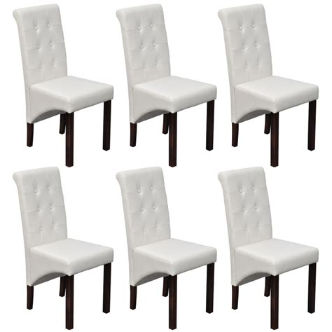 Dining Chairs 6 6 Scroll Back Artificial Leather Wooden Dining Chairs White Vidaxl