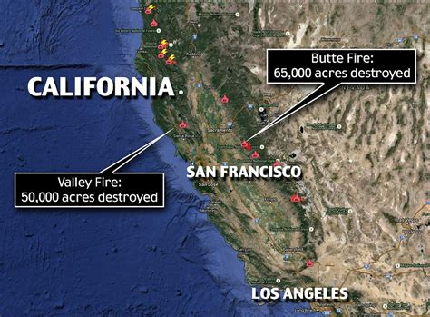 california fires location map shows s view as he flees california wildfires