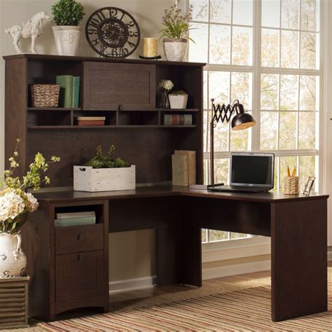Desk With Bookcase Hutch Darby Home Co Egger Corner L Desk With Hutch Bookcase And Lateral File Reviews Wayfair